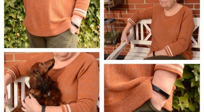 Bluse strikket på tværs i 3 størrelser